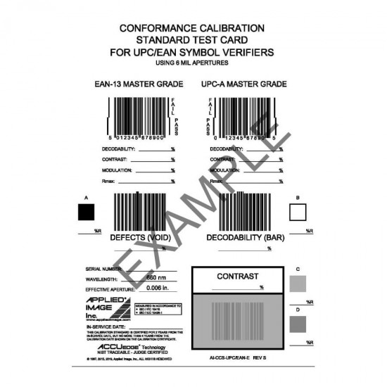 98-CAL020 Conformance Calibration Standard Test Card